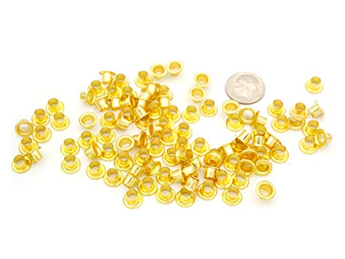 CRAFTMEmore 4MM Hole 100PCS Grommets Eyelets for Shoes, Bead Cores, Clothes, Leather, Canvas (Gold)