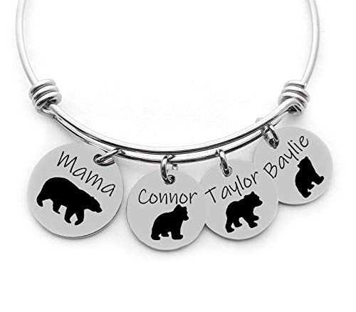 (Personalized Bracelet - Mama Bear - Custom Name Jewelry - Choose the number of discs)