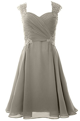 MACloth Women Party Gown Wedding Formal Cap Dress Short Silber Cocktail 2017 Sleeve OOr1Cq