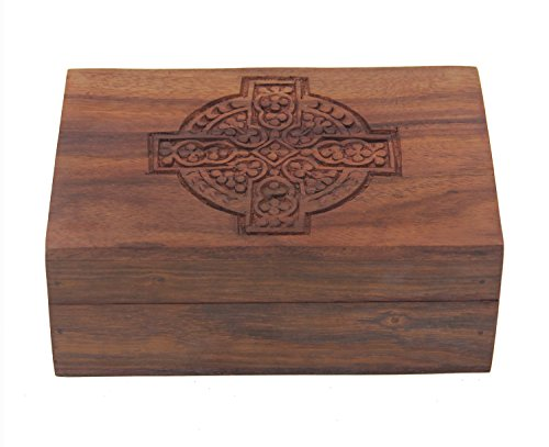 KayJayStyles Hand Carved Jewelry Trinket Keepsake Wooden Storage Box (Medium, Celtic - Celtic Cross Trinket