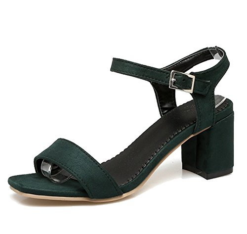 Easemax Womens Elegant Faux Suede Ankle Buckle Strap Open Toe Mid Chunky Heel Slingback Sandals Green GBiIDXR