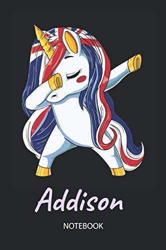 Addison - Notebook: Blank Lined Personalized & Customized Name Great Britain Union Jack Flag Hair Dabbing Unicorn Notebook / Journal for Girls & ... Birthday, Christmas & Name Day Gift ()