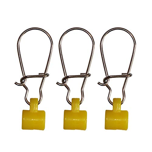 30-60pcs Fishing Sinker Slides with Hooked Snap Fishing Line Connector Fishing Accessories (Yellow Wide, 30pcs)