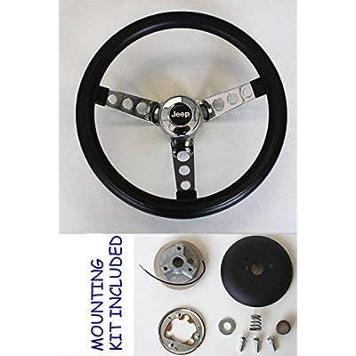 """1976-1995 Jeep CJ CJ5 CJ7 YJ Classic GRANT Black Steering Wheel 13 1/2"""" Horn Kit: Automotive"""