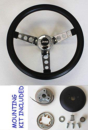 1976-1995 Jeep CJ CJ5 CJ7 YJ Classic GRANT Black Steering Wheel 13 1/2'' Horn Kit by Grant (Image #4)