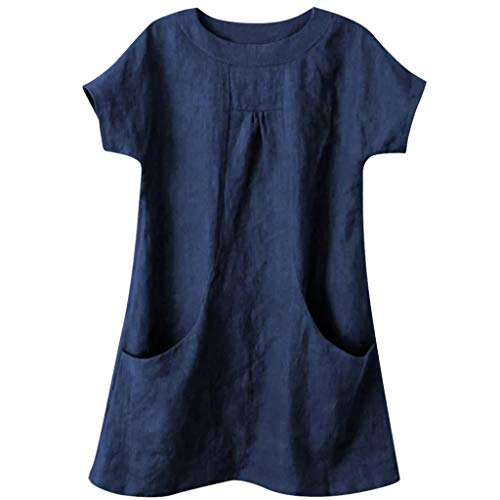 Nuewofally Women's Casual T Shirts Linen Blouse Round Neck Tee Top Summer Short Sleeve Tunic Tops with Pockets Blue