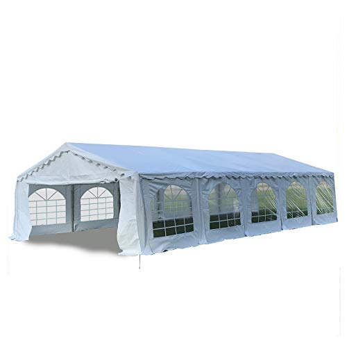 DELTA Canopies Budget PVC Party Tent Canopy Shelter 32'x20' - White (Pvc Tent Pole)