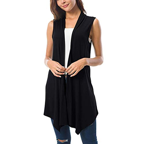 Pervobs Women's Sleeveless Draped Open Front Cardigan Vest Loose Irregular Hem Thin Blouse Tops(L, Black)