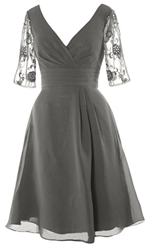 V of Dress Half MACloth Cocktail Short Neck Bride Dress Women Mother Silver The Sleeves q4SnwRt