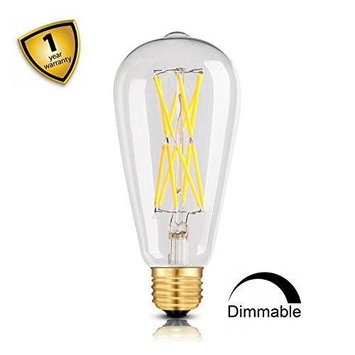 Leools Edison light bulbs 100 watts,12W Dimmable Led Bulbs, 4000KNeutralWhite1200LM E26MediumBase,ST21(ST64)EdisonLEDFilamentBulbs,360DegreesBeamAngle,Packof1