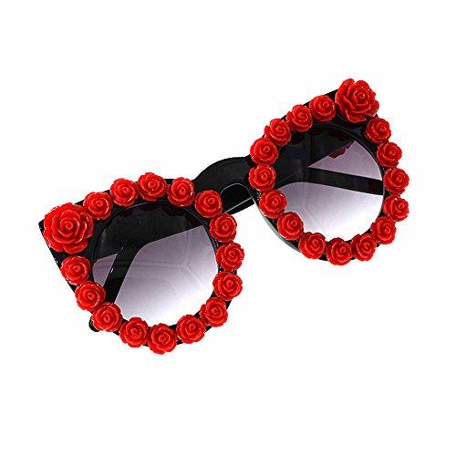 Flower Personality Red Beach Fashion Gafas Cat Gafas Lentes Handmade de sol Show espejados Rose para adecuado de Romantic Style de Gafas sol Gafas sol Baroque planos sol Eyes Rojo act y Lady's de el ocio Uv8TW8Bt