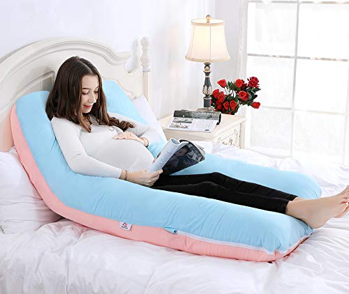 QUEEN ROSE 55' Full Body Pregnancy Pillow,U-shaped Maternity Pillow for Sleeping with Nursing Baby Design,w/Removable Cotton Cover