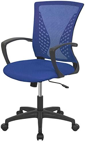 Home Office Chair Mid Back PC Swivel Lumbar Support Adjustable Desk Task Computer Ergonomic Comfortable Mesh Chair with Armrest (Blue)