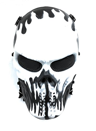 Everlife Shop CS Protective Mask Halloween Airsoft Paintball Full Face Skull Skeleton Mask (Black/White) ()