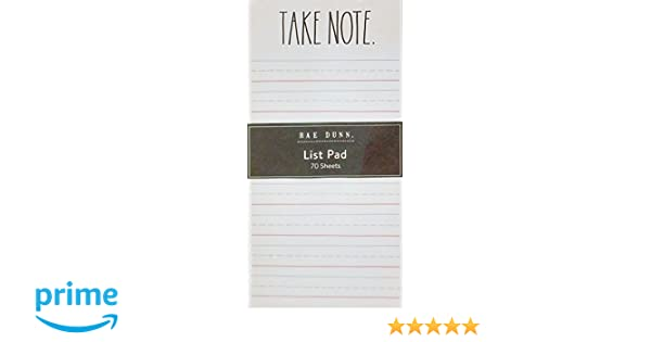 Take Note - Rae Dunn List Pad (Memo Notepad Notes Organize Lists Office School Work Home)