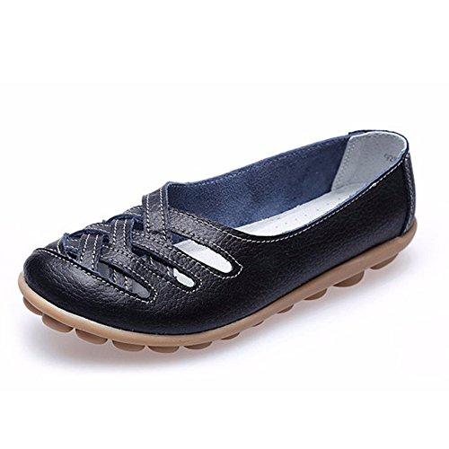 Alicegana Women's Leather Loafers Shoes Casual Cut Out Flat Slip-On Sandals