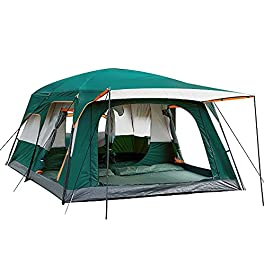 KTT Extra Large Tent 12 Person(Style-B),Family Cabin Tents,2 Rooms,Straight Wall,3 Doors and 3 Windows with Mesh…