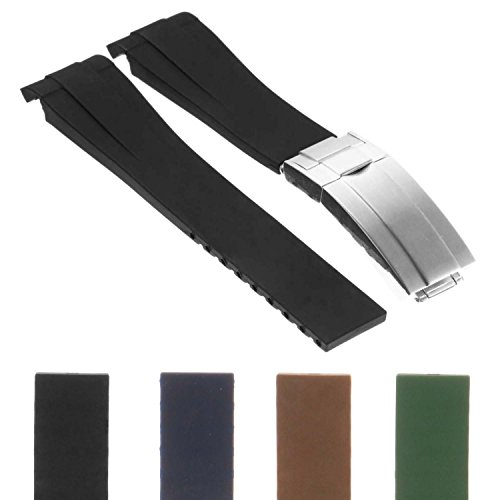 (StrapsCo 20mm Premium Silicone Rubber Replacement Watch Band Strap for Oysterflex)