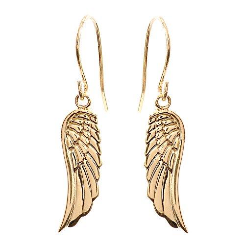 Fine 10k Yellow Gold Angel Wing Drop Earrings
