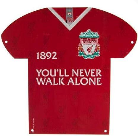 Liverpool FC Letrero de metal para camisa con texto en inglés