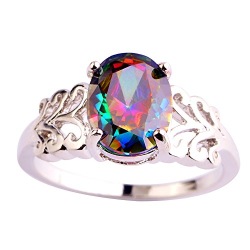 Psiroy Women's 925 Sterling Silver Oval Cut Created Rainbow Topaz Filled Anniversary Ring Size 9