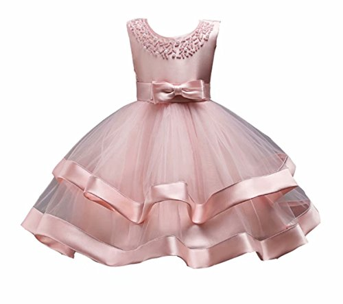 AYOMIS Girl's Lace Bridesmaid Dresses Wedding Pageant Dresses Tulle Party Gowns Age 3-12 Years(Pink,140) ()