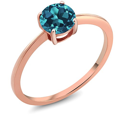 10K Rose Gold 0.75 Ct Round London Blue Topaz Women's Solitaire Ring (Ring Size 6)