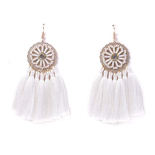 RIVERTREE White Statement Fringe Tassel Earrings for women - Ethnic Rhinestone Seed Beads Disc Top Dangle Drop Earring Boho (Pendant Cotton Light White)