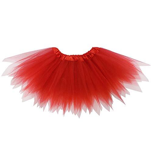 So Sydney Adult Plus Kids Size Pixie Fairy Tutu Skirt Halloween Costume Dress Up (M (Kid Size), Red)