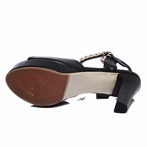 Womens Bridal Carolbar Black Sandals Heel High Toe Peep Beaded Platform Chains F8r8Odqw