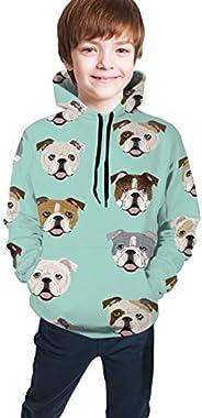 Hxjiuli Youth Hooded Sweater English Bulldog Dog Face Mint Green Casual Pocket Hoodie Sweatshirt for Boys Girl