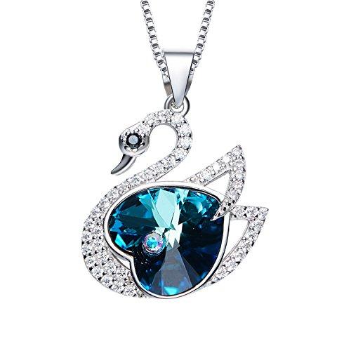 Platinum Plating (Platinum plating Swan Necklace Pendant with Heart-shaped Swarovski Crystal and rhinestones)