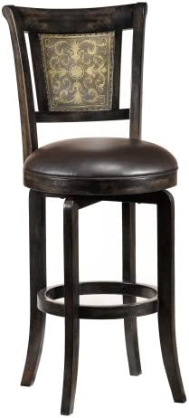Hillsdale Camille Swivel Bar Stool, Dark Brown Finish with Gold Highlighted Back and Brown Faux-Leather
