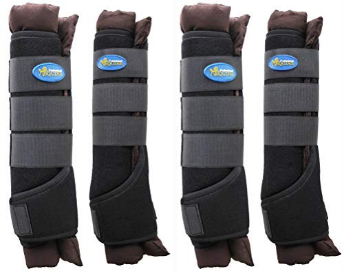 TackRus Horse Stable Shipping Boots Wraps Front Rear 4 PK Leg Care Premium Brown - Stable Boots Horse