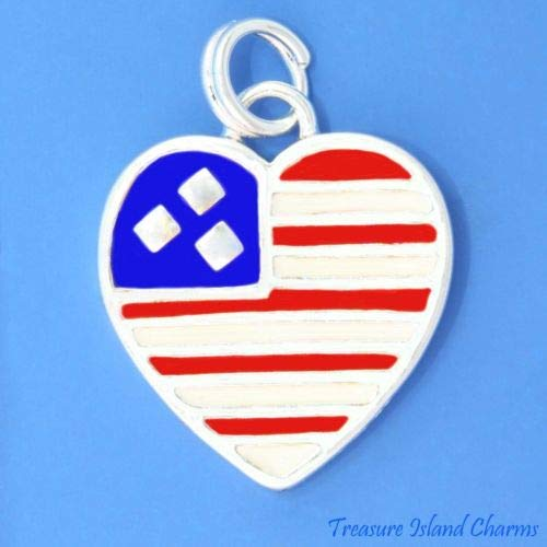 American USA Flag 925 Solid Sterling Silver Charm Pendant Crafting Key Chain Bracelet Necklace Jewelry Accessories Pendants ()
