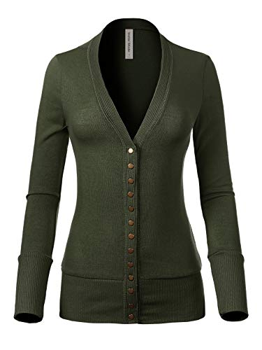 - Design by Olivia Women's Soft Basic V-Neck Snap Button Down Knit Cardigan Army Green L