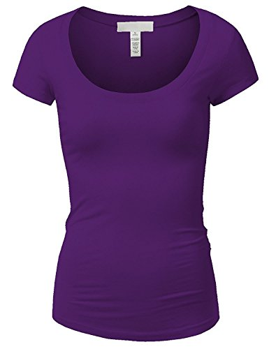 Active Basic Womens Basic Deep Scoop Neck with Cap Short Sleeves - Purple, M