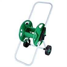 Dtemple 164-Foot Capacity Garden Water Hose Reel Cart, Hose Pipe Holder Trolley Cart with 2-Wheels, green.