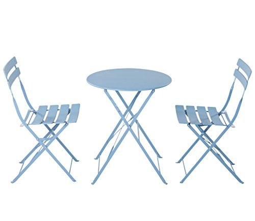 Grand patio Premium Steel Patio Bistro Set, Folding Outdoor Patio Furniture Sets, 3 Piece Patio Set of Foldable Patio Table and Chairs, Blue (Table Set Iron Chair Wrought And)