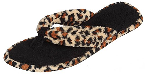 Ladies Leopard Flip Flop Thongs (Beverly Rock Woman's Terry