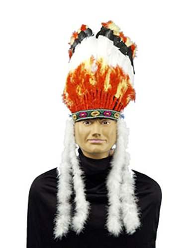 [Forum Native American Headdress, Red/White, One Size] (Indian Warrior Costumes)