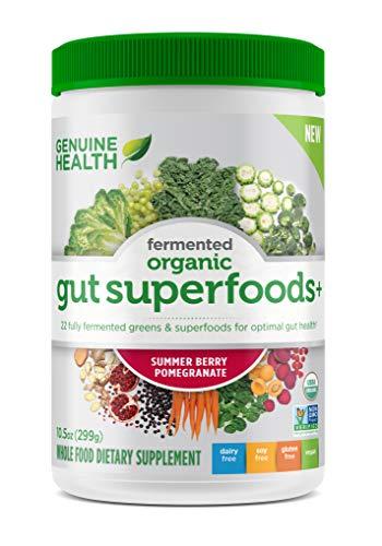 Genuine Health Fermented Organic Gut Superfoods+, Summer Berry Pomegranate, Vegan Superfoods Powder, Prebiotics, Digestive Support, Gluten Free, Non-GMO, 10.5oz Tub