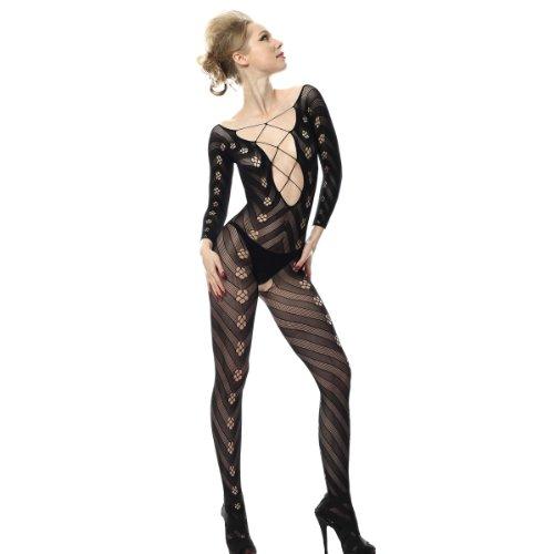 SpotLight Hosiery Women's Lace Up Crisscross Front Bodystocking ()