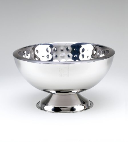 Elegance Bolt Hammered 3-Gallon Stainless Steel Doublewall Punch Bowl by Elegance