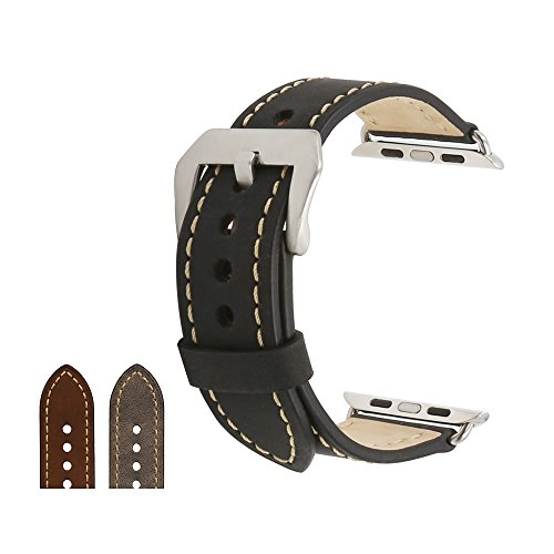omyzam Apple Watch Band Leather Replacement Watch Strap Large Stainless Steel Buckle iwatch Band 42mm Black