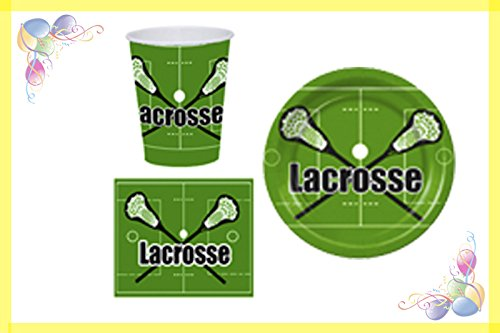 Lacrosse Party Package Black - 9 inch DINNER Paper Plates 18 (CT) - 6