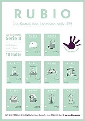 Rubio – Aprendizaje de escritura – Toda La serie B0 hasta B9 – 10 x DIN A5 de cuadernos: Amazon.es: Oficina y papelería
