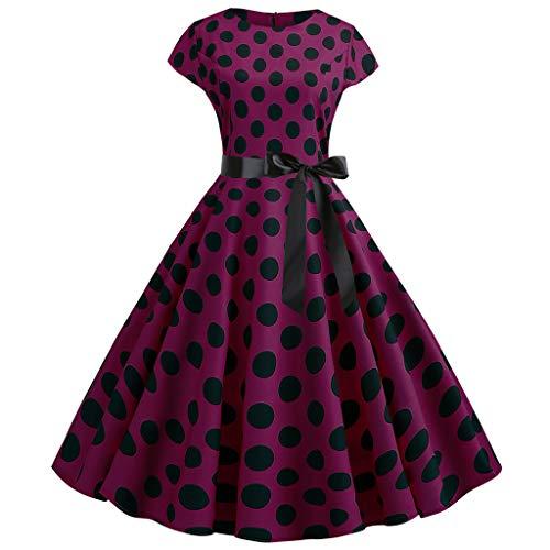 Women Vintage 1950s Retro Short Sleeve Dot Print Evening Party Prom Swing Dress Wine
