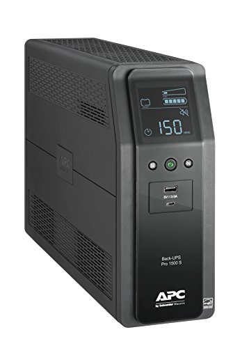 - APC Sine Wave UPS Battery Backup & Surge Protector, 1500VA, APC Back-UPS Pro (BR1500MS)
