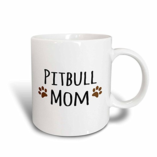 (3dRose 154172_6 Pit-bull Dog Mom Mug, 11 oz, Brown)